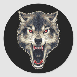 Lobo feroz pegatina redonda