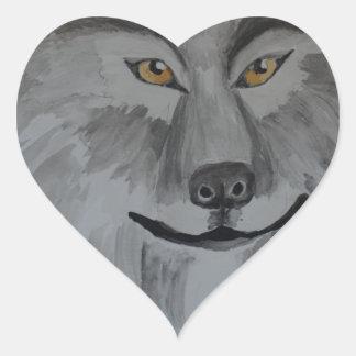 Lobo gris 16-01.JPG Pegatina En Forma De Corazón