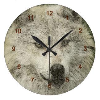 Lobo gris blanco salvaje de los Animal-amantes de Reloj Redondo Grande