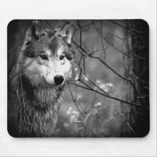 Lobo gris - blanco y negro tapetes de ratones