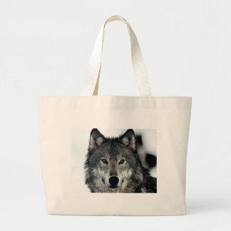 Lobo gris bolsa tela grande