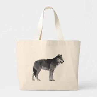 Lobo gris bolsas lienzo