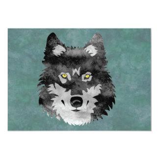 """Lobo gris de la acuarela invitación 5"""" x 7"""""""