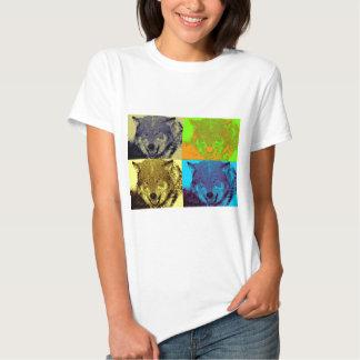 Lobo gris del arte pop remera