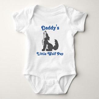 Lobo gris del grito con el texto azul body para bebé