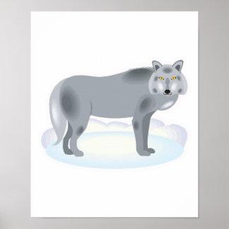 lobo gris del invierno póster