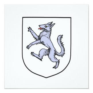 """Lobo gris desenfrenado en un escudo Herald del Invitación 5.25"""" X 5.25"""""""