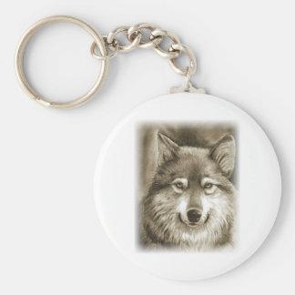 Lobo gris dócil llavero redondo tipo pin