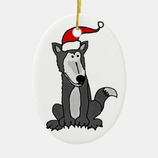 Lobo gris en arte del gorra de Santa Adornos