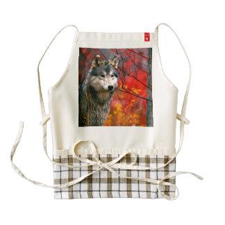 Lobo gris en follaje rojo y amarillo hermoso delantal zazzle HEART