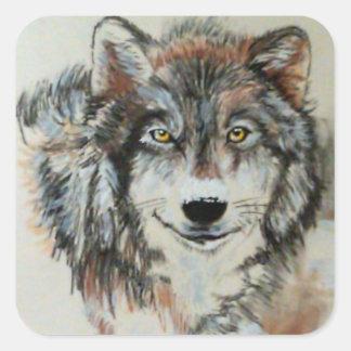 Lobo gris en pegatinas de la nieve pegatina cuadrada