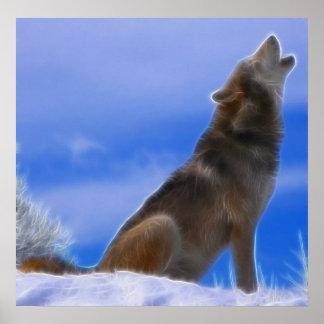 Lobo gris en peligro grito solo póster