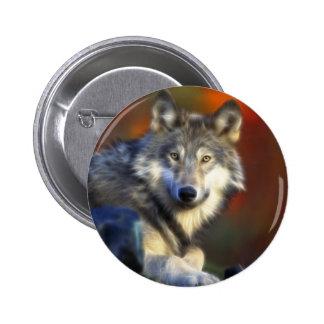 Lobo gris, fotografía de Digitaces en peligro de Pin Redondo De 2 Pulgadas