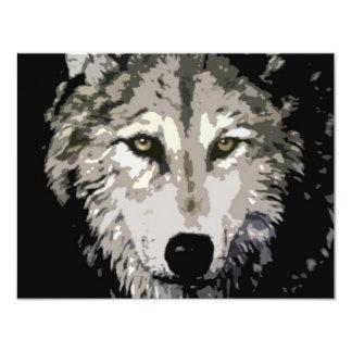 Lobo gris invitación 10,8 x 13,9 cm