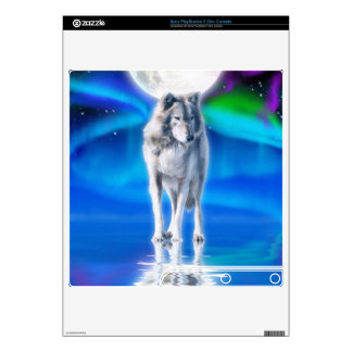 Lobo gris Luna Llena y piel de Playstation 3 de l Calcomanías Para El PS3 Slim