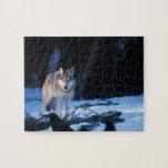 lobo gris, lupus de Canis, en las colinas de los 3 Puzzle
