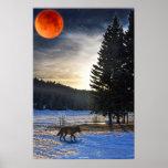 Lobo gris, nieve, luna de la sangre y arte de la f posters
