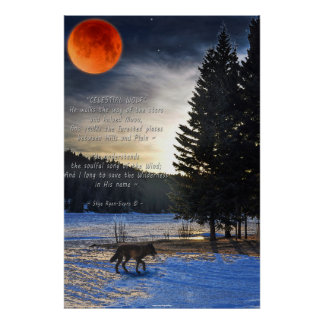 Lobo gris, nieve, luna de la sangre y poema del lo poster