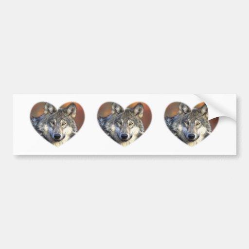 Lobo gris pegatina de parachoque