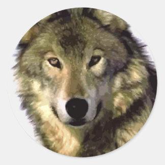 Lobo gris pegatina redonda