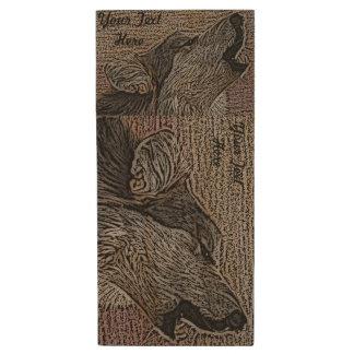Lobo gris que grita la pintura original del arte memoria USB 2.0 de madera