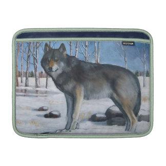 Lobo gris solitario: Pintura en colores pastel del Fundas Macbook Air