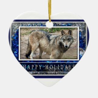Lobo gris u ornamento del corazón del navidad de adorno navideño de cerámica en forma de corazón