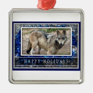 Lobo gris u ornamento del navidad de los lobos adorno navideño cuadrado de metal