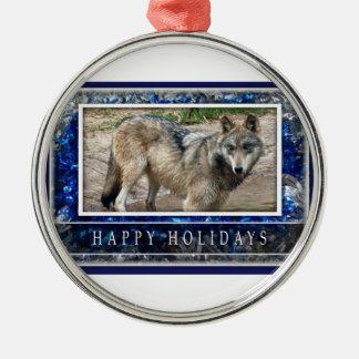 Lobo gris u ornamento del navidad de los lobos adorno navideño redondo de metal