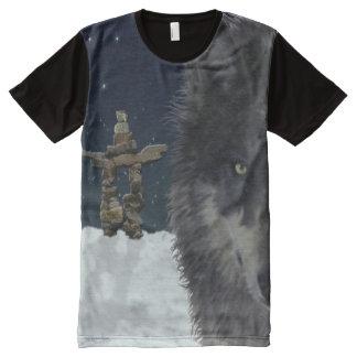 Lobo gris y arte ártico de la fauna de Inukshuk Playera Con Estampado Integral