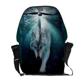 Lobo gris y Eagle en la bolsa de mensajero de la f Bolsa De Mensajería