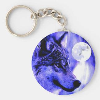 Lobo gris y luna llavero redondo tipo pin