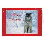 Lobo hermoso en tarjeta de Navidad de encargo de l
