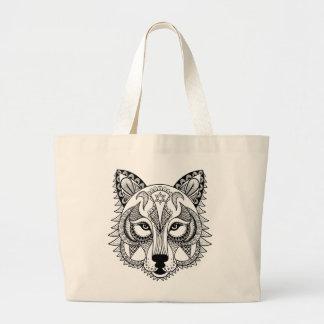 Lobo inspirado bolsa tela grande