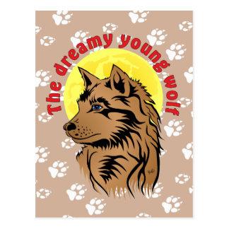 lobo joven tarjeta postal soñando