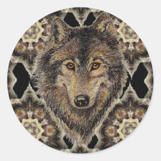 Lobo, lobos, animal salvaje, naturaleza, pegatina redonda