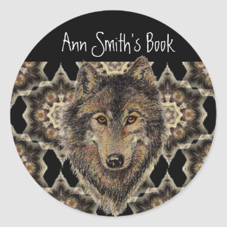 Lobo, lobos, animal salvaje, naturaleza, placa de pegatina redonda
