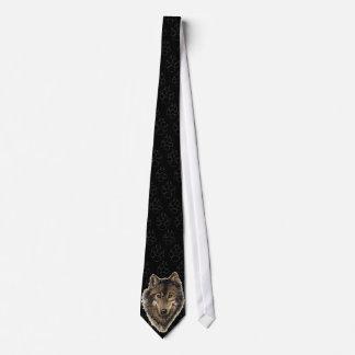 Lobo, lobos con las pistas, animal de la acuarela corbata personalizada