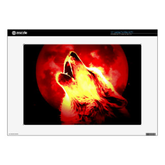 Lobo, luna y cielo rojo 38,1cm portátil calcomanías