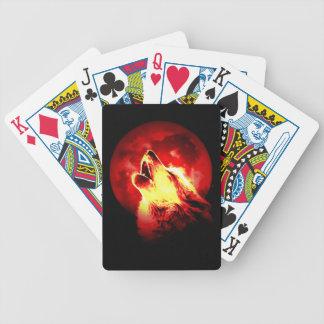 Lobo, luna y cielo rojo cartas de juego