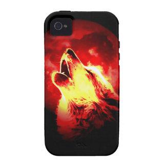 Lobo, luna y cielo rojo iPhone 4 fundas