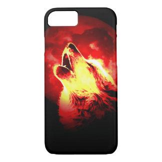 Lobo, luna y cielo rojo funda iPhone 7