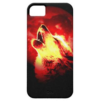 Lobo, luna y cielo rojo funda para iPhone 5 barely there