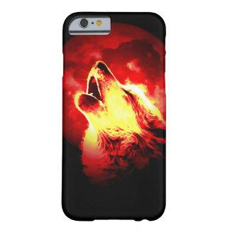 Lobo, luna y cielo rojo funda para iPhone 6 barely there