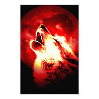 Lobo, luna y cielo rojo papeleria personalizada