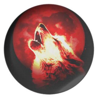 Lobo, luna y cielo rojo plato para fiesta