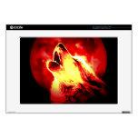 Lobo, luna y cielo rojo portátil 38,1cm skin