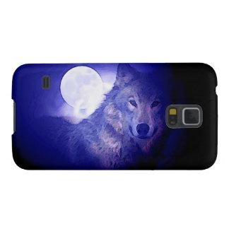Lobo, luna y noche azul carcasas de galaxy s5