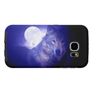 Lobo, luna y noche azul funda samsung galaxy s6