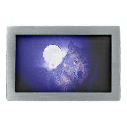 Lobo, luna y noche azul hebilla cinturón rectangular
